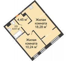 """2 комнатная квартира 37,48 м² в ЖК Европейский берег, дом ГП-9 """"Дом Монако"""" - планировка"""