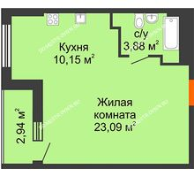 Студия 38,59 м², ЖК Орбита - планировка