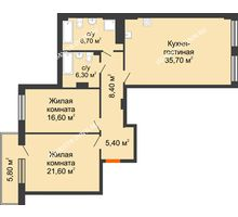 2 комнатная квартира 104,55 м² в ЖК Георгиевский, дом 2а - планировка