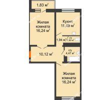 2 комнатная квартира 63,83 м² в ЖК Мой город, дом Литер 3 - планировка