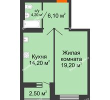 1 комнатная квартира 46,2 м² в ЖК На Тимошенко, дом № 1 - планировка