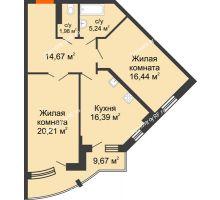 2 комнатная квартира 79,76 м² в ЖК Краснодар Сити, дом Литер 3 - планировка