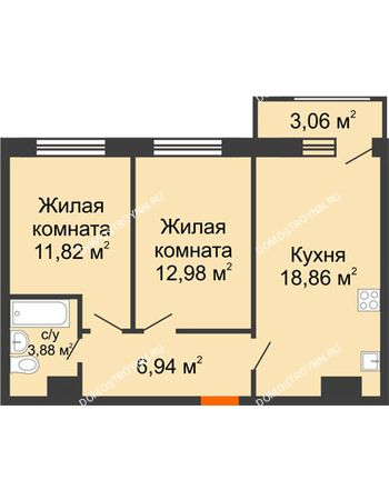 2 комнатная квартира 57,54 м² в ЖК Город времени, дом № 18
