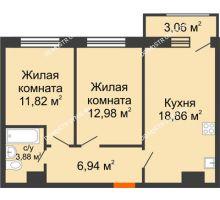 2 комнатная квартира 57,54 м² в ЖК Город времени, дом № 18 - планировка