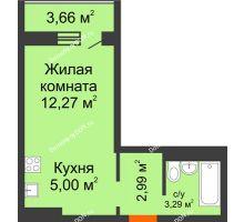 Студия 25,38 м² в ЖК Платовский, дом Литер 11 - планировка