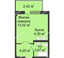 Студия 25,92 м² в ЖК Соловьиная роща, дом № 3 - планировка