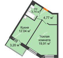 1 комнатная квартира 40,46 м² в ЖК Новый Академгородок, дом № 2 - планировка