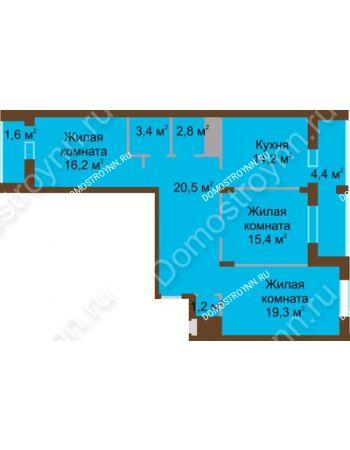 3 комнатная квартира 99 м² в ЖК Монолит, дом № 89, корп. 1, 2