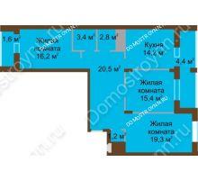 3 комнатная квартира 99 м² в ЖК Монолит, дом № 89, корп. 1, 2 - планировка