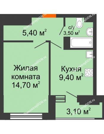 1 комнатная квартира 34,6 м² в ЖК Южный Берег, дом Литер 4