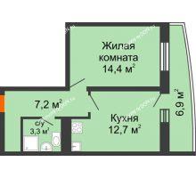 1 комнатная квартира 40,2 м² в ЖК Звезда Столицы, дом Литер 9 - планировка