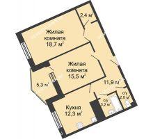 2 комнатная квартира 71,6 м² в ЖК Монолит, дом № 89, корп. 3 - планировка