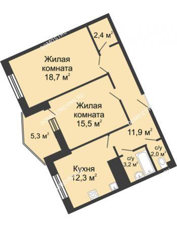 2 комнатная квартира 71,6 м² в ЖК Монолит, дом № 89, корп. 3