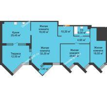 3 комнатная квартира 151,7 м² в ЖК Империал, дом Литер 9 - планировка