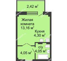 Студия 27,6 м² в ЖК Соловьиная роща, дом № 5 - планировка