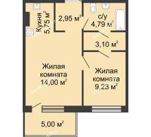 2 комнатная квартира 44,82 м² в ЖК Времена Года, дом № 1