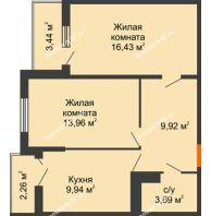 2 комнатная квартира 56,79 м² в ЖК Семейный парк, дом Литер 2 - планировка
