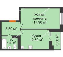 1 комнатная квартира 40,8 м² в ЖК Вересаево, дом Литер 5/1