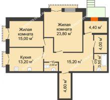 2 комнатная квартира 88,7 м², Жилой дом: г. Дзержинск, ул. Кирова, д.12 - планировка