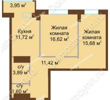 2 комнатная квартира 65,68 м² в ЖК Подкова на Панина, дом № 7, корп. 6 - планировка