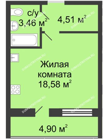 Студия 28,8 м² в ЖК Удачный, дом № 3