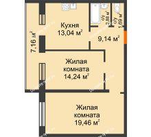 2 комнатная квартира 67,89 м², ЖК Дом на Троицкой - планировка
