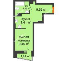 Студия 27,87 м² в ЖК Рубин, дом Литер 3 - планировка
