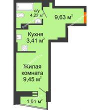 Студия 27,67 м² в ЖК Рубин, дом Литер 2 - планировка