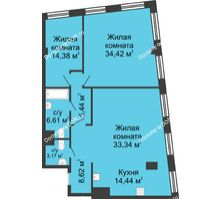 3 комнатная квартира 120,42 м², ЖК Гранд Панорама - планировка