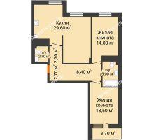 2 комнатная квартира 80,45 м² в ЖК Корица, дом № 1 - планировка