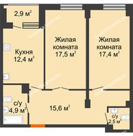 2 комнатная квартира 71,75 м² в ЖК Квартет, дом № 3 - планировка
