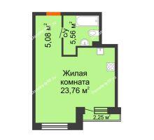 Студия 34,4 м² в ЖК Первая Линия. Гавань, дом № 2.3 - планировка
