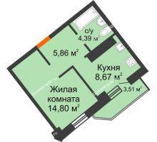 1 комнатная квартира 35,5 м², ЖК Столица - планировка
