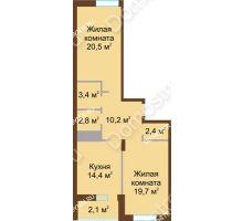2 комнатная квартира 75,5 м² в ЖК Монолит, дом № 89, корп. 1, 2 - планировка