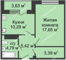1 комнатная квартира 44,15 м² в ЖК Облака, дом № 1