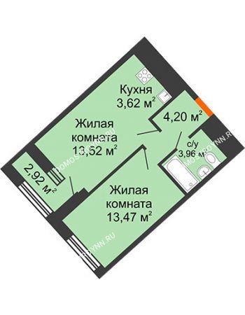 1 комнатная квартира 40,23 м² в ЖК Дом на Набережной, дом № 1