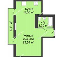 Студия 36,1 м² в ЖК Военвед-Сити, дом № 2 - планировка