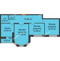 3 комнатная квартира 81,7 м² в ЖК Елецкий Лайт , дом № I-14 - планировка