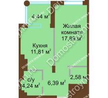 1 комнатная квартира 42,91 м² в ЖК Сердце Нижнего, дом № 36 - планировка