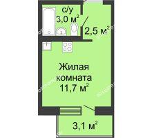 Студия 18,8 м² в ЖК Мега, дом № 5 - планировка