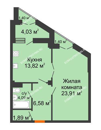 1 комнатная квартира 53,15 м² в ЖК Дом на Провиантской, дом № 12