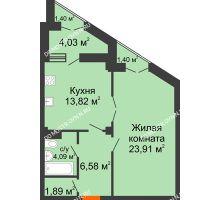 1 комнатная квартира 53,15 м² в ЖК Дом на Провиантской, дом № 12 - планировка