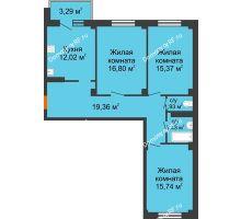 3 комнатная квартира 85,17 м² в ЖК Ясный, дом № 10 - планировка