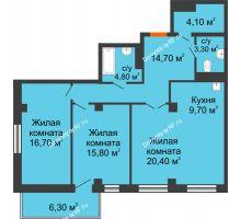 3 комнатная квартира 91,4 м² в ЖК Взлетная 7, дом 1-2 корпус - планировка