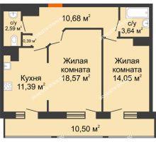 2 комнатная квартира 71,81 м² в ЖК Покровский, дом № 1 - планировка