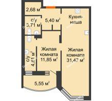 2 комнатная квартира 63,1 м² в ЖК Золотое сечение, дом №1, 2 этап - планировка