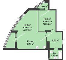 1 комнатная квартира 64,34 м², ЖК Адмирал - планировка