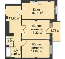 2 комнатная квартира 68,82 м² в ЖК Премиум, дом №1