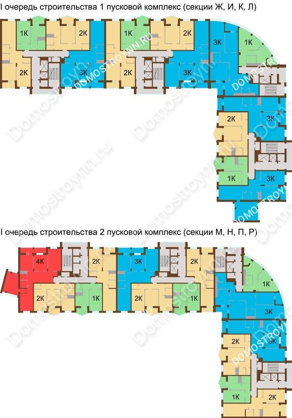 Планировка 6 этажа в доме № 89, корп. 1, 2 в ЖК Монолит