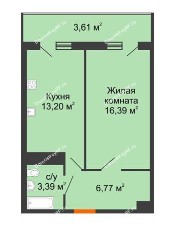 1 комнатная квартира 43,36 м² в ЖК Фамилия, дом Литер 1